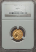 1911 $2 1/2 MS64 NGC. NGC Census: (1179/171). PCGS Population: (732/127). CDN: $1,050 Whsle. Bid for problem-free NGC/PC...