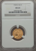 Indian Quarter Eagles: , 1925-D $2 1/2 MS64 NGC. NGC Census: (3678/1012). PCGS Population: (2405/628). CDN: $650 Whsle. Bid for problem-free NGC/PCG...