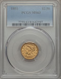 1851 $2 1/2 MS63 PCGS. PCGS Population: (47/50). NGC Census: (64/46). CDN: $950 Whsle. Bid for problem-free NGC/PCGS MS6...