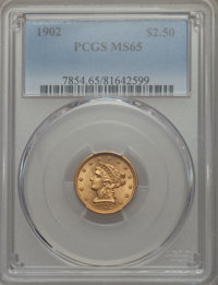 1902 $2 1/2 MS65 PCGS. PCGS Population: (383/190). NGC Census: (313/234). CDN: $925 Whsle. Bid for problem-free NGC/PCGS...