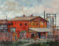 Fine Art - Painting, American:Contemporary   (1950 to present)  , Frank Hein (American, b. 1942). Red Buildings. Oil on board.16 x 20 inches (40.6 x 50.8 cm). Signed faintly lower right...