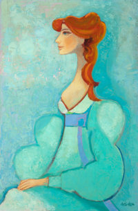 David Pryor Adickes (American, b. 1927) Lady with Red Hair, 1978 Oil on canvas 35-1/4 x 23-1/4 in