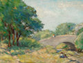 Fine Art - Painting, American:Modern  (1900 1949)  , Reveau Bassett (American, 1897-1981). April Morning, TurtleCreek. Oil on canvas laid on board. 9-3/8 x 12-3/8 inches (2...