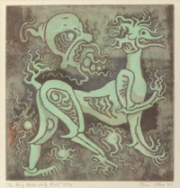 Bror Utter (American, 1913-1993) Foo Dog with Jelly Fish, 1968 Etching with colors 8 x 7-3/4 inch
