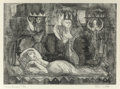 Prints, Bror Utter (American, 1913-1993). Woman Dreaming. Etching. 7-3/8 x 10-1/4 inches (18.7 x 26.0 cm) (image). Ed. 7/30. Sig...