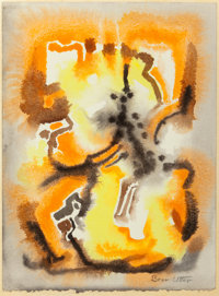Bror Utter (American, 1913-1993) Abstract in Orange and Yellow Watercolor on paper laid on board