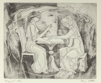 Bror Utter (American, 1913-1993) Palmest Etching 6 x 7-1/4 inches (15.2 x 18.4 cm) (image) Ed