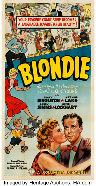 "Blondie (Columbia, 1938). Three Sheet (41"" X 79"").. ... Movie ..."