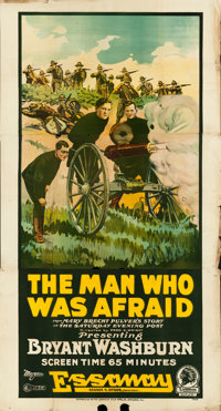"The Man Who Was Afraid (Essanay, 1917). Three Sheet (43"" X 81"")"