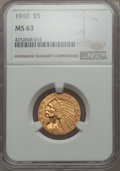 Indian Half Eagles: , 1910 $5 MS63 NGC. NGC Census: (1012/344). PCGS Population:(646/269). CDN: $950 Whsle. Bid for problem-free NGC/PCGS MS63. ...