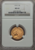 Indian Half Eagles: , 1910 $5 MS62 NGC. NGC Census: (2176/1356). PCGS Population:(1500/915). CDN: $510 Whsle. Bid for problem-free NGC/PCGS MS62...