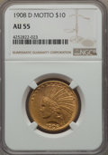1908-D $10 Motto AU55 NGC. NGC Census: (72/694). PCGS Population: (84/757). Mintage 836,500. From The Twelve Oaks Co