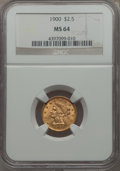 Liberty Quarter Eagles: , 1900 $2 1/2 MS64 NGC. NGC Census: (440/355). PCGS Population: (410/293). CDN: $500 Whsle. Bid for problem-free NGC/PCGS MS6...
