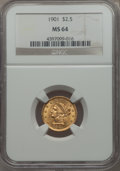 Liberty Quarter Eagles: , 1901 $2 1/2 MS64 NGC. NGC Census: (517/368). PCGS Population: (431/335). CDN: $500 Whsle. Bid for problem-free NGC/PCGS MS6...