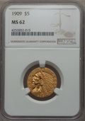 1909 $5 MS62 NGC. NGC Census: (2325/1325). PCGS Population: (1500/1449). CDN: $510 Whsle. Bid for problem-free NGC/PCGS...