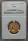 Indian Half Eagles: , 1908-D $5 MS62 NGC. NGC Census: (839/1467). PCGS Population: (941/1723). CDN: $700 Whsle. Bid for problem-free NGC/PCGS MS6...