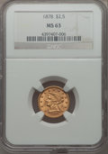Liberty Quarter Eagles: , 1878 $2 1/2 MS63 NGC. NGC Census: (287/179). PCGS Population: (299/205). CDN: $575 Whsle. Bid for problem-free NGC/PCGS MS6...