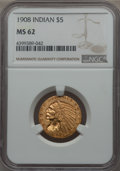 1908 $5 MS62 NGC. NGC Census: (2721/1919). PCGS Population: (1888/2237). CDN: $510 Whsle. Bid for problem-free NGC/PCGS...