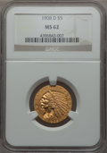 1908-D $5 MS62 NGC. NGC Census: (839/1467). PCGS Population: (941/1723). CDN: $700 Whsle. Bid for problem-free NGC/PCGS...