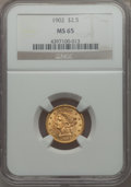 1902 $2 1/2 MS65 NGC. NGC Census: (313/234). PCGS Population: (383/190). CDN: $925 Whsle. Bid for problem-free NGC/PCGS...