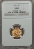 Liberty Quarter Eagles: , 1902 $2 1/2 MS64 NGC. NGC Census: (733/547). PCGS Population: (761/573). CDN: $500 Whsle. Bid for problem-free NGC/PCGS MS6...
