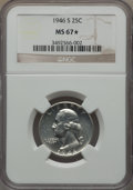 Washington Quarters, 1946-S 25C MS67 ★ NGC. NGC Census: (351/3 and 59/1*). PCGSPopulation: (130/5 and 59/1*). CDN...