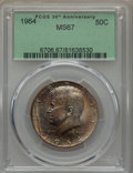 Kennedy Half Dollars, 1964 50C MS67 PCGS. PCGS Population: (59/0). NGC Census: (49/0).Mintage 273,300,000. ...