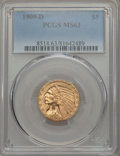 1909-D $5 MS63 PCGS. PCGS Population: (10133/3093). NGC Census: (8105/2826). CDN: $710 Whsle. Bid for problem-free NGC/P...