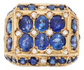 Estate Jewelry:Rings, Gentleman's Sapphire, Diamond, Gold Ring. . ...