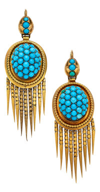Victorian Turquoise, Gold Earrings
