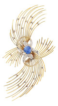 Estate Jewelry:Brooches - Pins, Sapphire, Diamond, Gold Brooch. ...