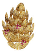 Estate Jewelry:Brooches - Pins, Ruby, Gold Brooch. . ...
