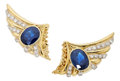 Estate Jewelry:Earrings, Sapphire, Diamond, Gold Earrings. . ...