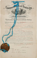 Autographs:Military Figures, [Hatfield & McCoy Feud]. Commonwealth of Kentucky Document Signed by Simon Bolivar Buckner Appointing T[reve] M. Gibson Agent ... (Total: 3 Items)