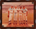 Baseball Collectibles:Photos, Mid-1970's Joe DiMaggio, Mickey Mantle, Willie Mays & DukeSnider Signed Old Timers Day Photograph from The Gary Carter Co...