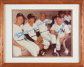 Baseball Collectibles:Photos, 1980's Mickey Mantle, Billy Martin, Joe DiMaggio & Whitey FordSigned Large Photograph from The Gary Carter Collection. ...