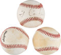 Baseball Collectibles:Balls, 1970's-'80's Presidents Single Signed Baseballs Lot of 3 with Ronald Reagan from The Gary Carter Collection. ...