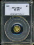 California Fractional Gold: , 1853 $1 Liberty Octagonal 1 Dollar, BG-530, R.2, MS62 PCGS. ...