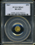 California Fractional Gold: , 1867 25C Liberty Round 25 Cents, BG-825, R.4, MS62 PCGS. ...