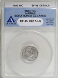 Coins of Hawaii: , 1883 10C Hawaii Ten Cents--Cleaned, Scratched--ANACS. XF45 Details.NGC Census: (16/171). PCGS Population (41/254). Mintage...