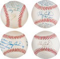 Autographs:Bats, 1999-2008 Gary Carter Single Signed First Pitch Baseballs Lot of 4from The Gary Carter Collection....