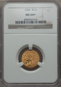 1926 $2 1/2 MS64+ NGC. NGC Census: (3545/635 and 116/10+). PCGS Population: (2727/787 and 122/33+). CDN: $650 Whsle. Bid...
