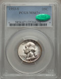 Washington Quarters, 1953-S 25C MS67+ PCGS. CAC. PCGS Population: (91/0 and 21/0+). NGCCensus: (286/2 and 0/0+). Mintage 14,016,000. ...
