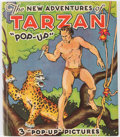 "Books:Children's Books, Edgar Rice Burroughs. The New Adventures of Tarzan ""Pop-Up.""Chicago: Pleasure Books, 1935. Illustrated Pop-Up e..."