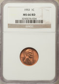 Lincoln Cents, 1953 1C Lincoln Cent PDS Set MS66 Red NGC. ... (Total: 3 coins)