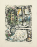 Prints:Contemporary, Marc Chagall (1887-1985). The Half Opened Window, 1975.Lithograph in colors on Japan nacre. 14-3/4 x 10-3/4 inches (37....