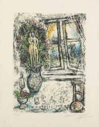 Marc Chagall (1887-1985) The Half Opened Window, 1975 Lithograph in colors on Japan nacre 14-3/4