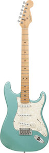 Musical Instruments:Electric Guitars, 1997 Fender Stratocaster Teal Metallic Solid Body Electric Guitar,Serial # N7293100, Weight: 8.2 lbs....