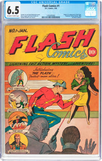 Flash Comics #1 (DC, 1940) CGC FN+ 6.5 Off-white to white pages