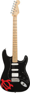 Musical Instruments:Electric Guitars, 1998 Fender Fat Strat Stratocaster Black Solid Body ElectricGuitar, Serial # DN808502, Weight: 7.8 lbs....